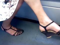 Candid granny leg and heel show
