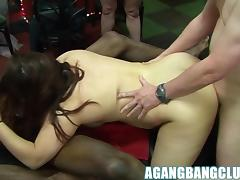 Mandy Cinn and Kimberley get fucked hard in lovely gangbang.