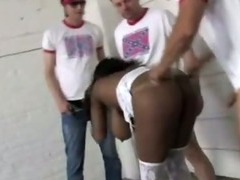 Big boobed sista wants big mouthfull in interracial gangbang