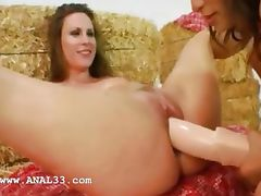 two girsl fuck anal with guy