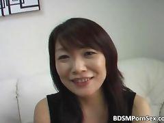 Horny Asian slut with big boobs sucks