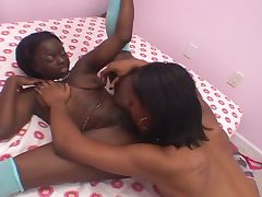 Ebony amateurs turn lesbain and fuck with strapon porn video