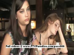 Faye and Larysa Tender Lesbians Flashing