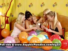 Lena and Salma and Rene and Sally astonished lesbian girls fingering