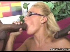 Hot Blonde Drinks Black Cum