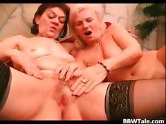 Two mature fat sluts have lesbian sucks part6