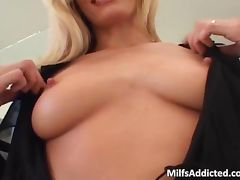 Incredible blonde MILF blows hard dick porn video