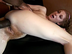 Redhead Hairy Pussy Diva Serves a Good Fuck for Enormously Big Black Dick porn video