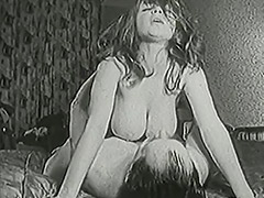 Busty Shaved Babe Fucked Twice with a Creampie 1950 porn video