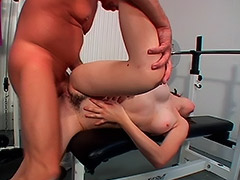 Silly Amateur Babe is Getting Fooled by a Coach and Her Unshaven Cunt is Fucked at the Local Gym