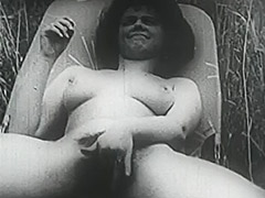 Girl with Big Boobs and Hairy Cunt Fucked in Field 1950