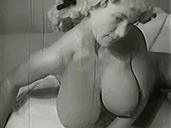 MILF with Big Tits is Bathing and Toweling 1950 porn video