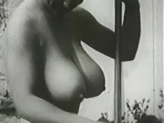 Busty Mom Sunbathing and Cleaning 1950 porn video