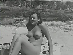 Blonde Sunbathing Hairy Naturist Girl 1950