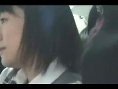 Asian Girl d on a Public Bus