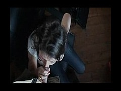 Boss swallows in the office Hot brunette boss in jeans takes guy into her throat and swallows in the