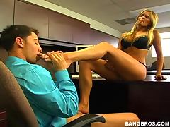 sexy blonde sucks her toes and gives a footjob