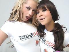 Blonde Teen Fucks a Brunette Schoolgirl With Strapon