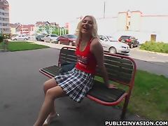 Sexy Blonde Babe Plays with her Round Tits in Public