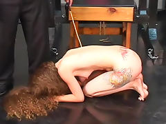 Curly hair girl tit and pussy torture