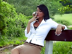 Fucking classy Euro babes outdoors