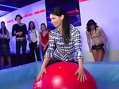 Babes balance on bouncy ball