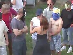 Cock Craving Slut Takes a Hot Cum Bath In a Wild Outdoor Gangbang