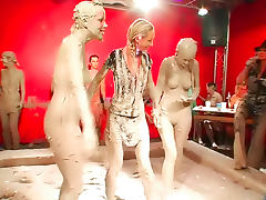 Hot body chicks in big mud wrestling