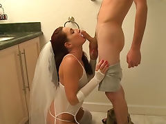 Bridal lingerie on this hardcore slut