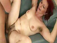 Seductive Redhead Granny Gets Her Hairy Pussy Banged The Hardcore