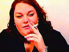 Fat amateur girl smokes cigarette