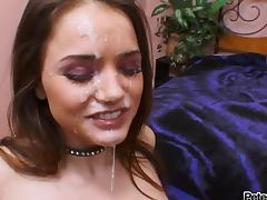Sexy brunette Tori Black gets a massive facial after a hot blowjob