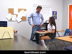 Tall schoolgirl teen Scarlet Banks classroom fucked