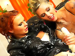 Satin on sexy lesbian strapon lovers