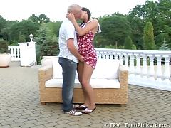 Sexy brunette Stracy gets fucked hard on the terrace