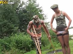 Boot Camp Hottie Gets Gangbanged BY Some Of Her Comrades