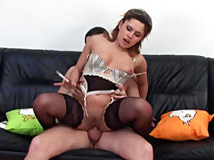 Whimsical Adelina likes deep blowjob