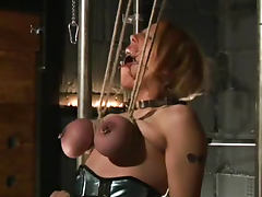 Extreme tit torture with submissive