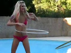 Jana Jordan and Jayme Langford having lesbian fun by the pool