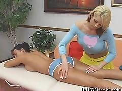 Busty Brunette Gets Anal Pleasure During a Hot Lesbian Massage