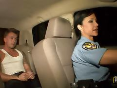 Uniform, Babe, Blowjob, Brunette, Car, Cop
