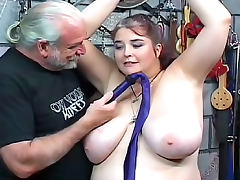 Fat woman wants to suffer in bondage