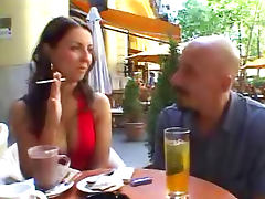 Great cleavage on his horny date