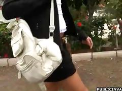 Sexy Brunet Is Masturbated In Public POV Style