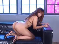 Kaori gets her body oiled and sucks a cock before taking it in her slit