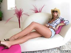 Blonde Brooke Banner having hardcore cowgirl