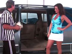 Horny Brunette Enjoys Some Sexy Time With a Referee