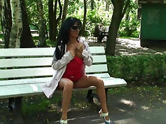 Park bench body display with flasher porn video