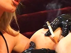 Huge tits mistress plays with sub girl porn video