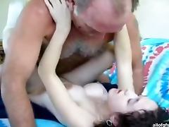Teen Brunette Rides AN Old Man's Hard Cock